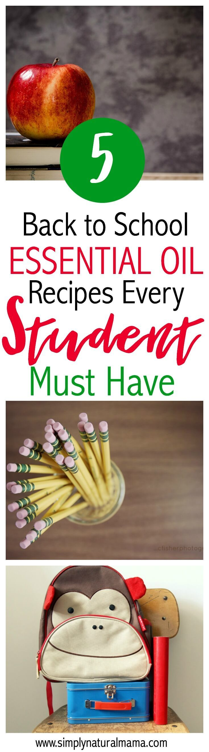 I loved this post! My kid is heading back to the classroom this fall, and I am so glad that I checked out these 5 back to school essential oil recipes every student (and mama) must have!  I can't wait to put them in his backpack and have him use them throughout the day to stay focused and healthy! via @simplynaturalma