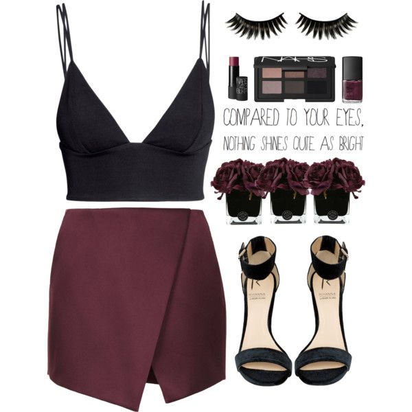 A fashion look from January 2014 featuring H&M tops, Topshop mini skirts and Rihanna For River Island sandals. Browse and shop related looks.