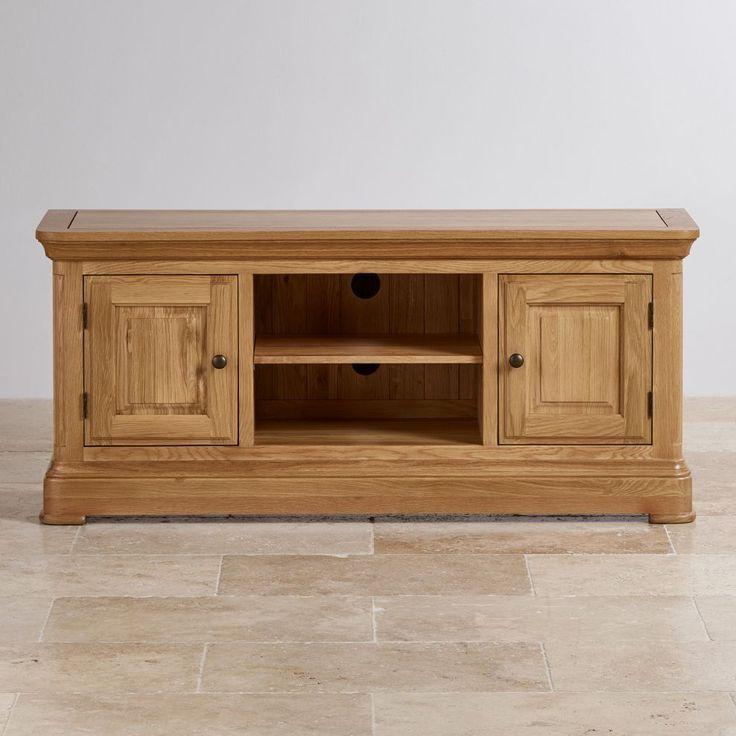 Canterbury Large Tv Stand Natural Solid Oak Oak Furniture Land In 2020 Oak Furnitureland Traditional Furniture Design Oak Furniture Land