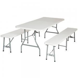 TecTake Set tavolo da campeggio giardino con 2 panche pieghevole in metallo e PVC bianco