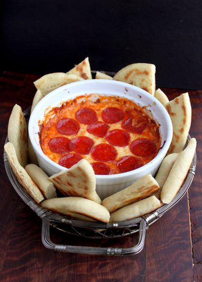 4 layer deep dish pizza dip and flatbread.  Fantastic!