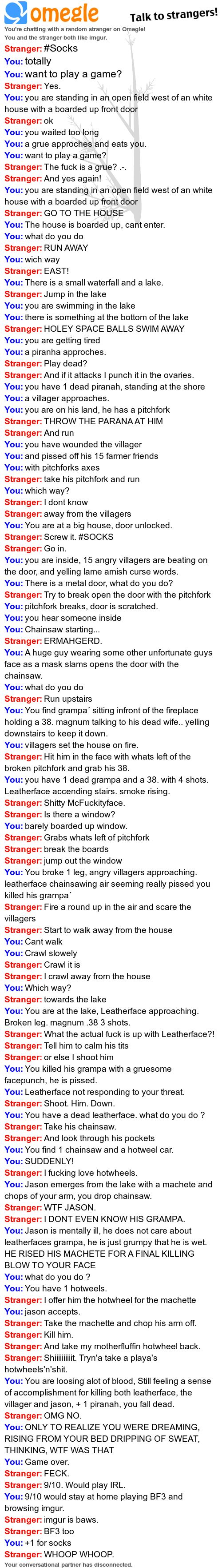My Favorite Omegle Conversation - Imgur