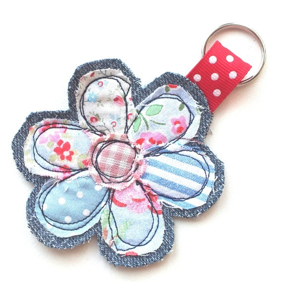 Fabric flower keyring