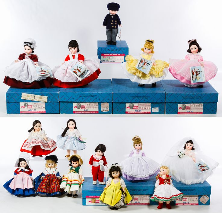 Lot 336: Madame Alexander Doll Assortment; Including fifteen 8-inch hard plastic dolls from the 1982 to 1984 era: Marme, Jo, Beth, Amy, Meg and Laurie; Germany, Israel, France, Canada, Belgium, Russia and Hungary; Red Boy and Bride; some with original boxes