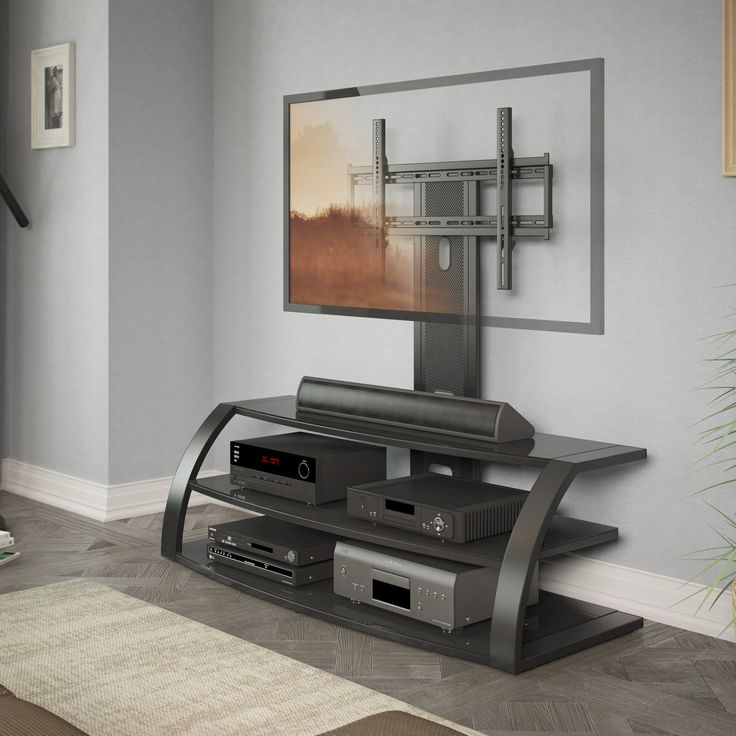 CorLiving TML-5 Malibu TV Stand with Mount and Metal Uprights | from hayneedle.com
