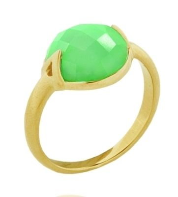 The mint green of the Chrysoprase gemstone sparks off the gold vermeil band and setting.  The lower part of the stone is exposed, allowing light to flow through, enhancing the depth of colour.   Stone size 10mm