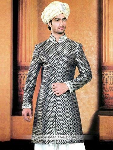 #Jamawar #reception #sherwani for men in #black color, embellished collar, sleeves cuffs and buttons detail on front http://www.needlehole.com/jamawar-reception-sherwani-for-men-in-black-color.html  #Manish malhotra #reception #sherwani and #kurta shalwar uk. Pakistani #wedding sherwani and indian men's sherwani suits by manish malhotra men's stores in usa, saudi arabia