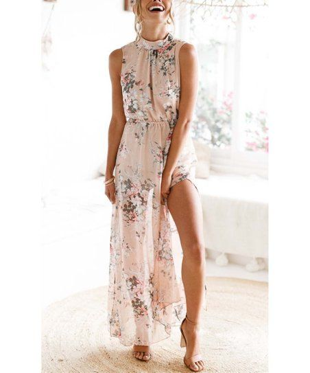 fd4f964b72 LAKLOOK | Pink Floral Side-Slit Maxi Dress - Women in 2019 | clothes ...