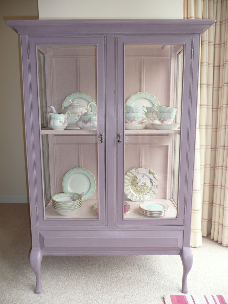 Shabby chic vintage glass display cabinet painted with Annie Sloan colours - Emile on the outside and Antoinette on the inside.