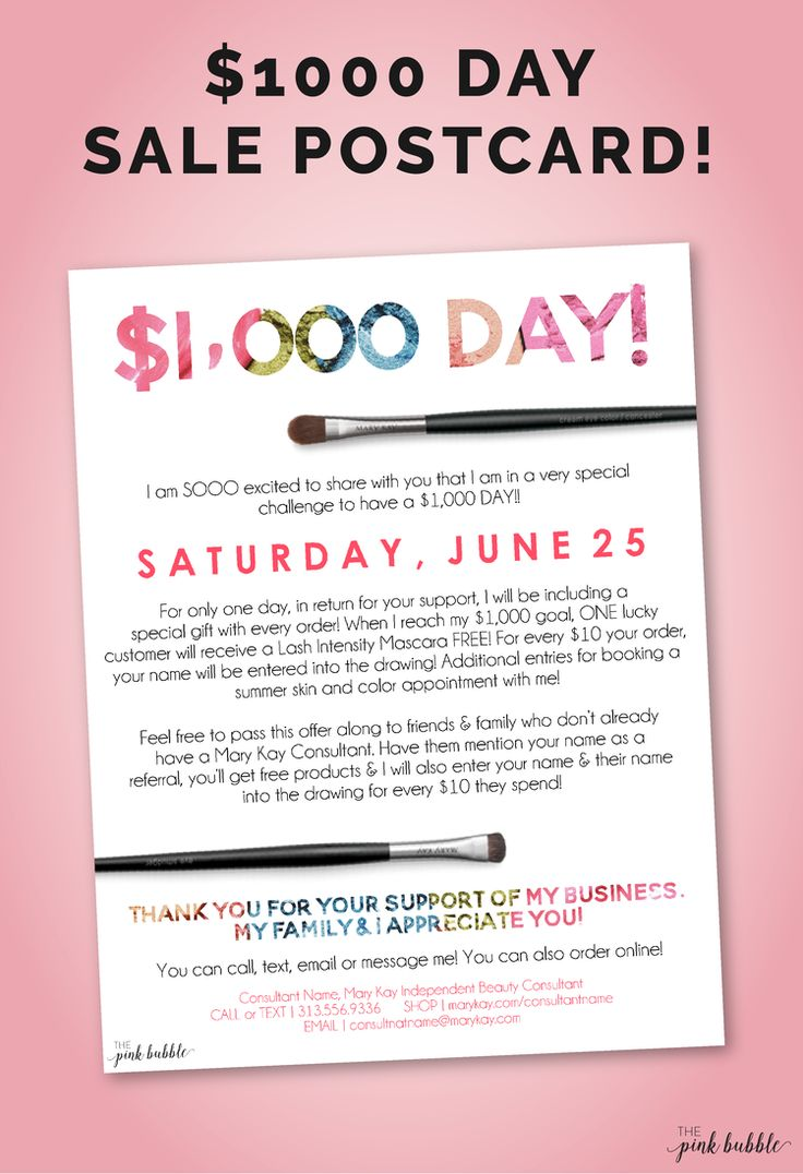 Mary Kay $1000 Day Sale Postcard or Flier! Totally customizable! Find it only at www.thepinkbubble.co!