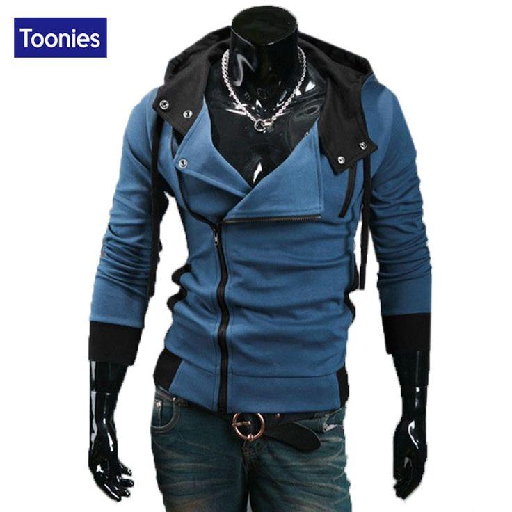 Street Hip Hop Zipper Hoodies Sweatshirts Men Fashion Brand Clothing Slim Fitness Hooded fall Spring Hoody Plus Size Hoodie Tops