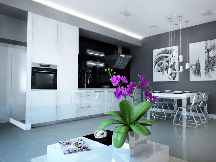 Pomysł na czarno - biały aneks kuchenny połączony z jadalnią i salonem