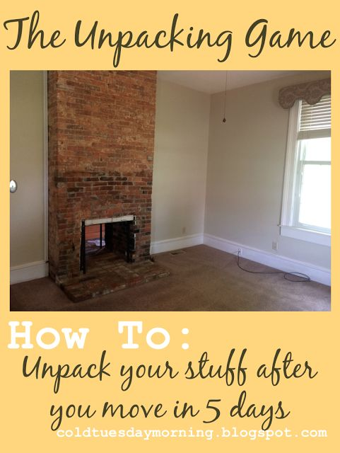 Tips on unpacking your stuff after you move in 5 days or less!