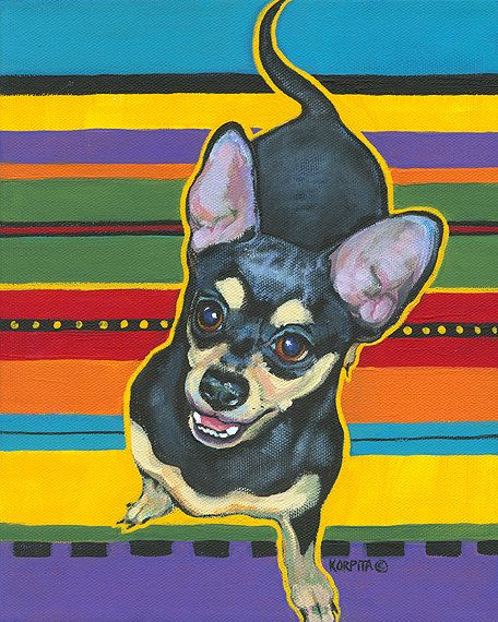 Black and Tan Chihuahua on Mexican Serape Glicee Print by korpita