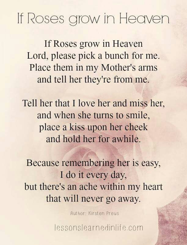 If Roses Grow In Heaven, for Ma...4~12~17.... it's exactly 6 months to the date tomorrow morning at 6 am since you left me Ma. I will always love you, not even death can change the bonds of our love for one another my sweet Ma♥️♥️