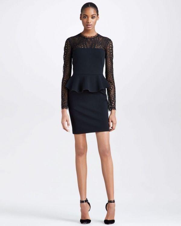 İste-Gelsin - Punto Milano Peplum Lace-Yoke Elbise - Siyah