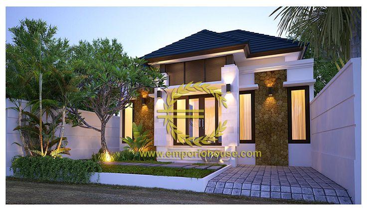 Desain Rumah 1 Lantai 2 kamar Lebar Tanah 10 meter dengan ukuran Tanah 1 are/100m2