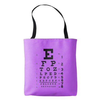 Ophthalmology Eye Chart Science Pop Art Purple Tote Bag - cyo diy customize unique design gift idea