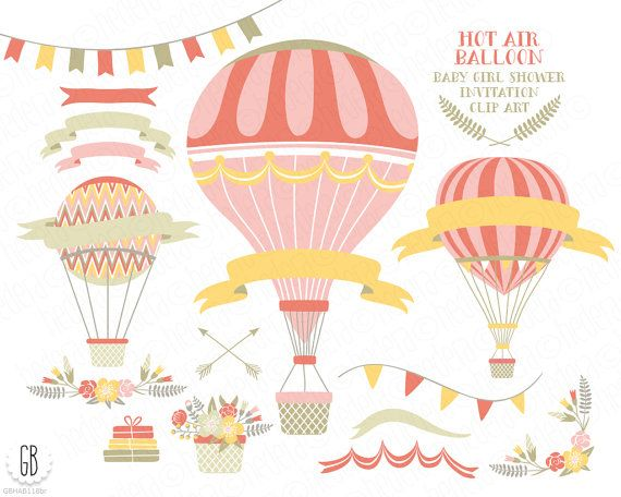 Vintage hot air balloons, vector, flower basket, floral wreaths, ribbons, baby girl shower, clip art, laurels, wedding invitation, baby girl...