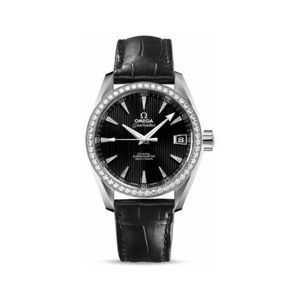 Omega Seamaster Aqua Terra Diamonds on Bezel Automatic Ladies Watch ($10,152) ❤ liked on Polyvore featuring jewelry, watches, analog watches, omega wrist watch, diamond watches, automatic movement watches and omega watches