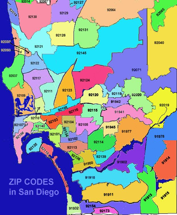 map of san diego zip codes this will be helpful i'm sure | Places