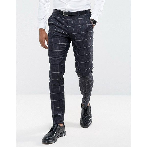 ASOS Wedding Super Skinny Suit Pants in Navy Windowpane Check With... ($64) ❤ liked on Polyvore featuring men's fashion, men's clothing, men's pants, men's dress pants, navy, mens navy blue pants, mens navy blue dress pants, mens skinny pants, nike men's stretch woven pants and mens tall pants