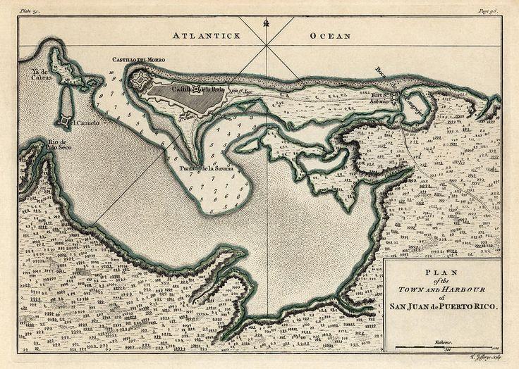 Antique Map Of San Juan Puerto Rico By Thomas Jefferys 1768 Drawing