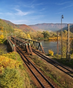 Autumn view of railroad bridge near Kralovany town in Slovakia.