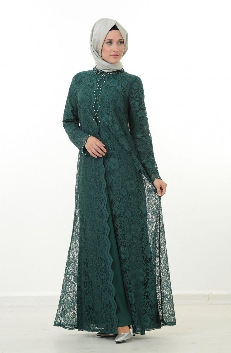 Nurla Dantel Detay Abiye Elbise-Yeşil 1165-21