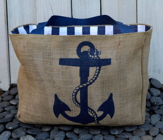 Eco-Friendly Nautical Anchor Market Tote Bag, Handmade from a Recycled Coffee Sa…