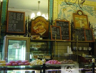 Au Panetier -one of the oldest Paris patisseries, is a shop with old-fashioned gas-style lamps, tiled walls and frosted glass.