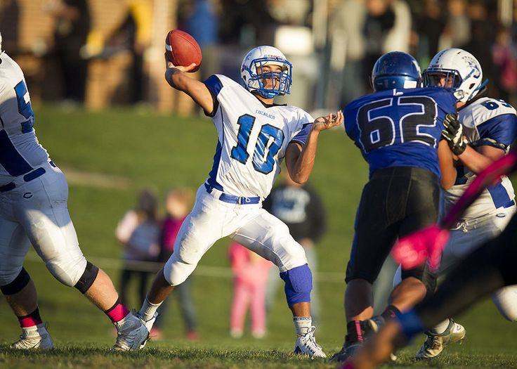 QB Dante Haines, of Cocalico High School, looking to pass early in the game.  It was Lampeter-Strasburg over Cocalico with a final score of 21 to 14 at Lampeter-Strasburg High School in Lancaster on Monday, October 5 2015.  Daniel Zampogna, PennLive