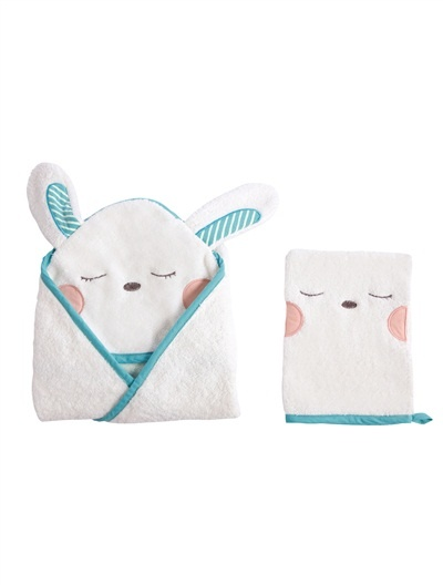 Cape de bain + gant bébé collection bio TROTTINOU BLANC CASSE - vertbaudet enfant
