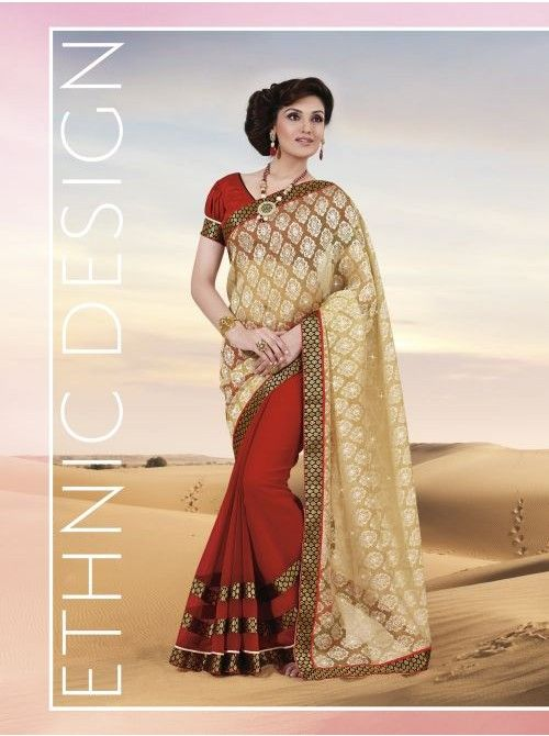 Light Gold and Red Chiffon and Brasso Half and Half Saree #Golden #Gold #Red #Chiffon #BuyHalfandHalfSaree #Halfandhalf #Saree