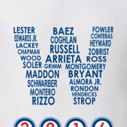 Chicago Cubs 2016 World Series Roster in W Flag T Shirt Win NL Team Names