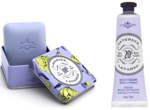 La Chatelaine Shea Butter Lavender Hand Cream + French Soap in a Tin Set, Moisturizing, Nourishing, Made in France, Travel Size Hand Lotion 1 fl oz, Natural Triple Milled Bar (100 g)  AUTHENTIC FRENCH LAVENDER FRAGRANCE: this soothing floral will leave you feeling relaxed and calm.  LUXURY FRENCH SOAP: triple milled to last twice as long producing a rich, creamy lather.  INSTANT REPAIR HAND LOTION: rich in Vitamin E & antioxidant, fast absorbing, non-greasy formula  BEST GIFT FOR ALL O...