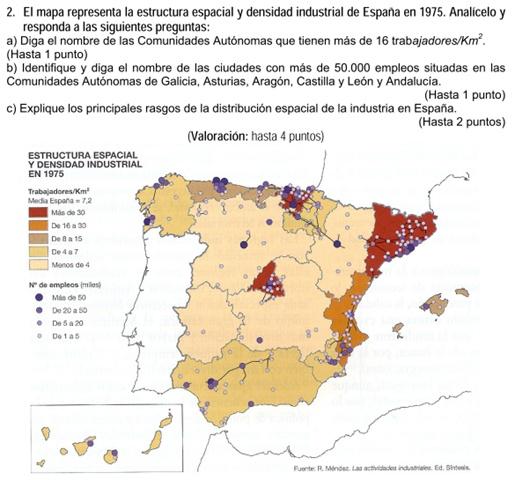 2008. Estructura espacial y densidad industrial de España en 1975.