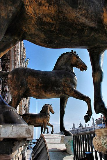 Horses at St Mark's Basilica - the 'real' ones are inside to keep them safe from the atmosphere.