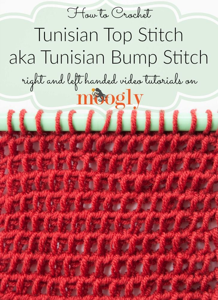 Learn how to crochet the Tunisian Top Stitch and Tunisian Bump Stitch on Mooglyblog.com!