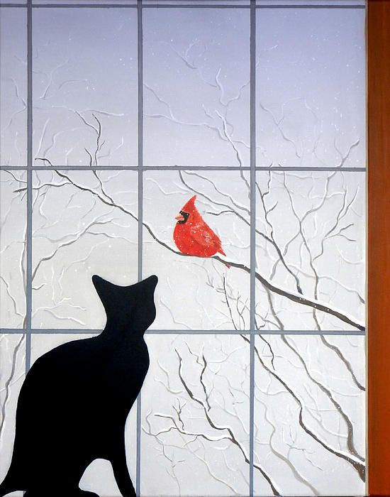 Cat And Cardinal Mixed Media  - Cat And Cardinal Fine Art Print @karynrobisonaz Smiles from The English Sisters the Everyday Hypnotherapists & authors in Rome