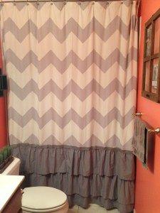 Extra tall shower curtain- DIY makeover