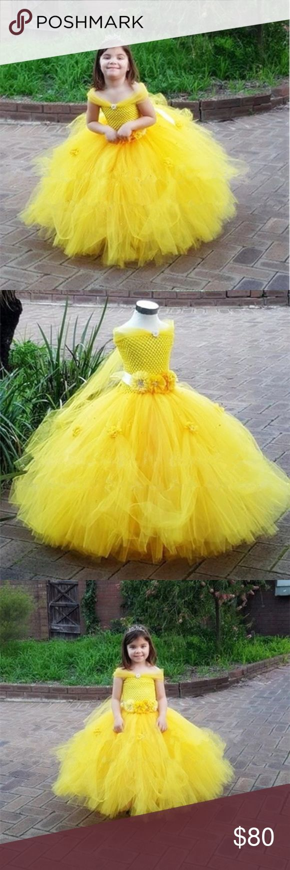 Handmade Belle Tutu Dress Costume Disney Princess 🌟NOTICE: Please allow up to 4 weeks for processing and delivery.🌟 ID00K08 Disney Dresses Formal