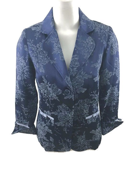 QVC Susan Graver Blue Floral Jacquard Blazer. Ribbon Trim on Pockets and Sleeves. 60% Polyester, 40% Cotton. Lining is 100% Polyester. Satiny Look. Wear Sleeve Cuff's Up or Down. Excellent Preowned Condition, No stains, rips or tears.   eBay!