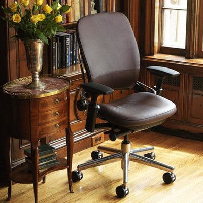 Steelcase Leap® High-Back Leather Desk Chair Upholstery: Steelcase Leather - Navy, Arms: Height, Width, Pivot and Depth Adjustable, Casters: Standa...