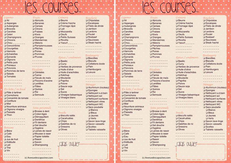 liste de courses à imprimer, format A4 :c'est pratique