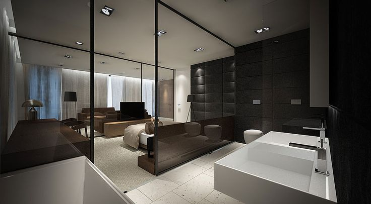 Suite with glass partitions, hotel project in Poland by studio Moomoo _