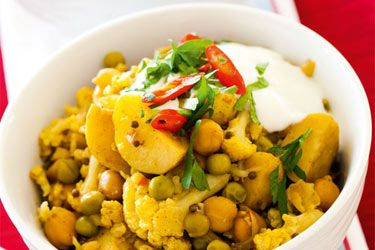 Cauliflower, chickpea and potato curry