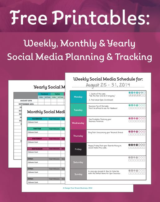 Free Printables: Weekly, Monthly & Yearly Social Media Planning & Tracking | designyourdreambiz.com