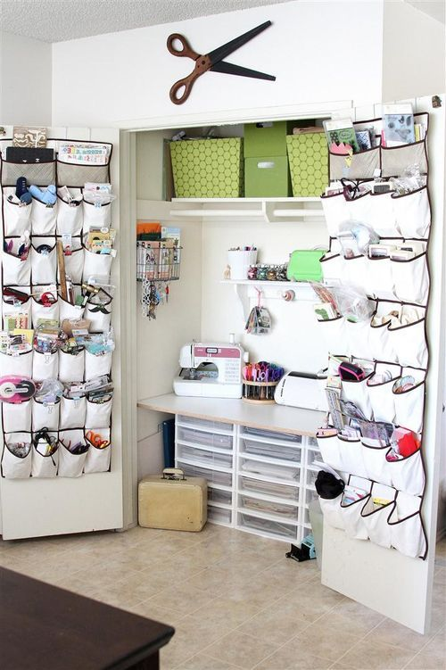 """Brilliant """"sewing room"""" idea (in case I ever need to downsize my space) -- I especially like the over-the-door shoe organizers to corral odds and ends"""