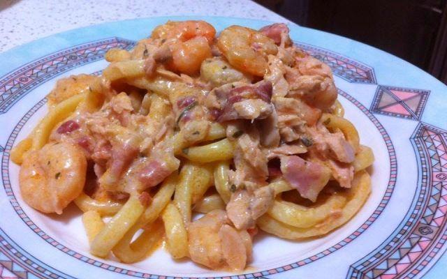 Scialatielli con slamone, gamberi e pancetta #ricette #recipe #pasta